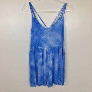 Altar'd State Romper Blue White Shorts Medium